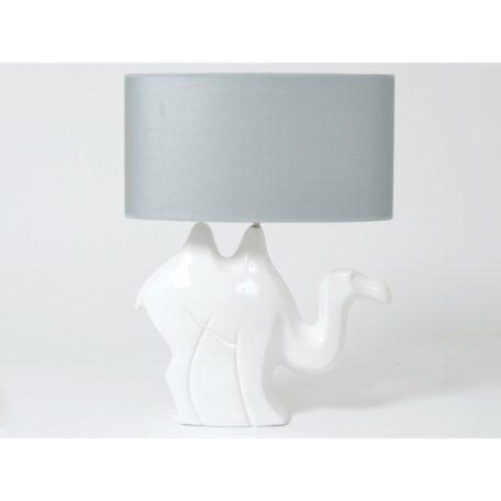 lampe chameau blanc abat-jour gris