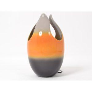 Lampe tulipe en ceramique orange top et gris - design drimmer
