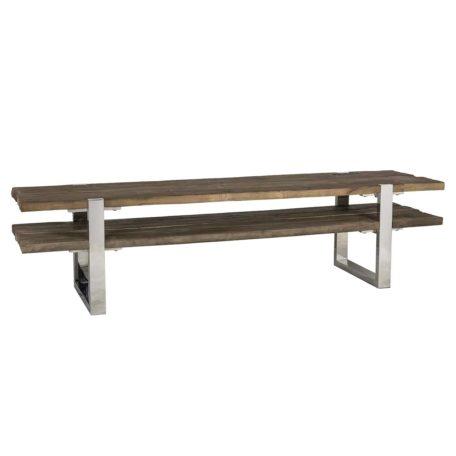 meuble tv industriel bois brut acier argent chrome maddox