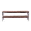 meuble tv design bois metal chrome argent brillant