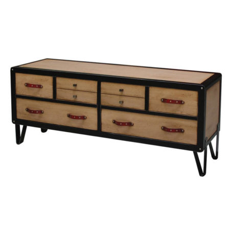 meuble-tv-original-chene-avec-tiroirs-pieds-metal-poignees-cuir-meubles-batel