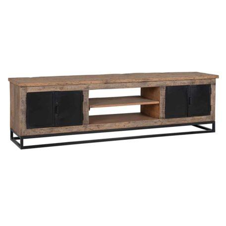 meuble tv bois et metal raffles 4 portes 2 niches