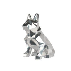 Statue chien gris argent effet miroir