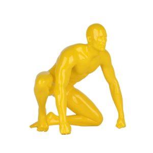 Statue homme athlete resine jaune