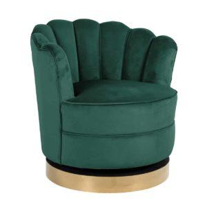Fauteuil pivotant MILA en velours vert
