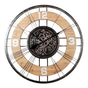 Grande horloge en bois et métal avec mécanisme engrenages