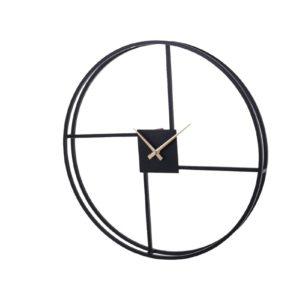 Horloge murale en métal effet decalage geometrique