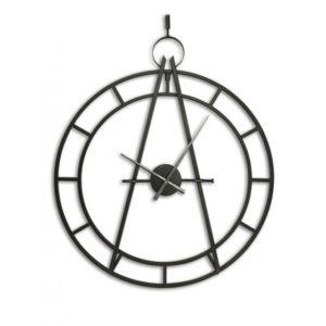Horloge design industriel metal noir effet cadran