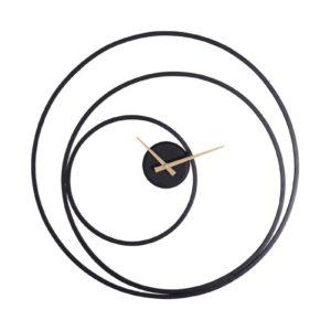 Horloge en metal noir effet cercles.