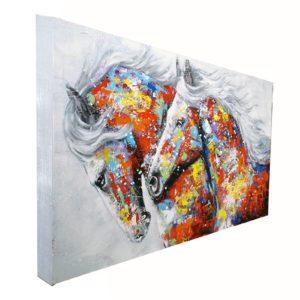 Tableau peinture sur toile couple de chevaux couleurs