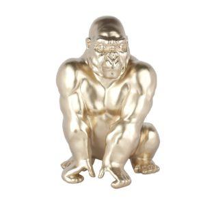 Statue gorille résine champagne, argent ou bleu brillant 41cm – GORILLA