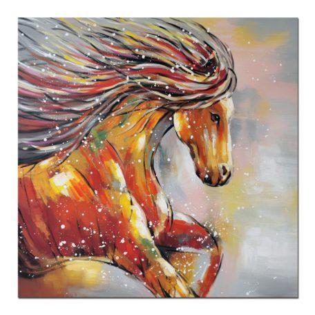 Tableau cheval au galop peinture multicolore