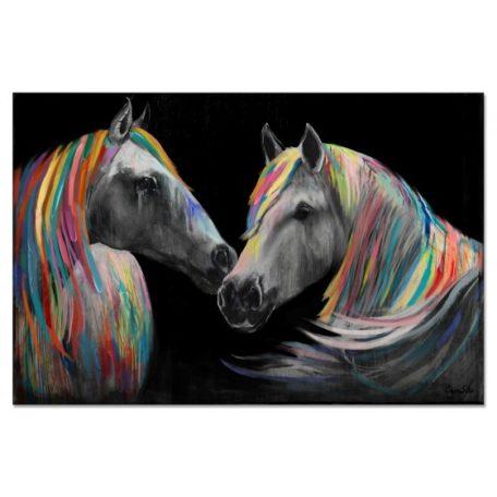 Tableau peinture duo de chevaux avec crinieres colorees facon arc-en-ciel