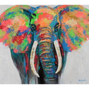 Tableau peinture sur toile elephant multicolore