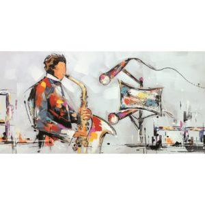 Tableau peinture sur toile concert saxophoniste