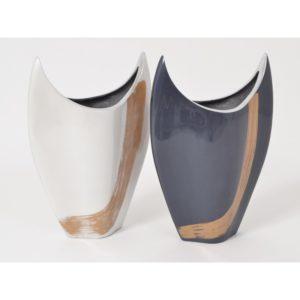 Vase blanc/or et bleu/or hauteur 29cm - collection VULCANO