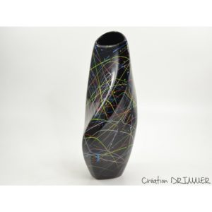 Vase en ceramique noire eclats de peinture multicolores collection GRAFFITI