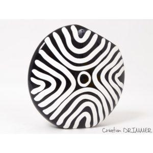 Vase rond motif zebre noir et blanc collection ZEBRA