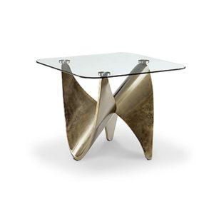 Bout de canape design en metal et verre haut de gamme de la collection KNOT