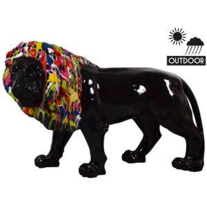 STATUE XXL lion noir crinière couleurs decoration exterieur jardin