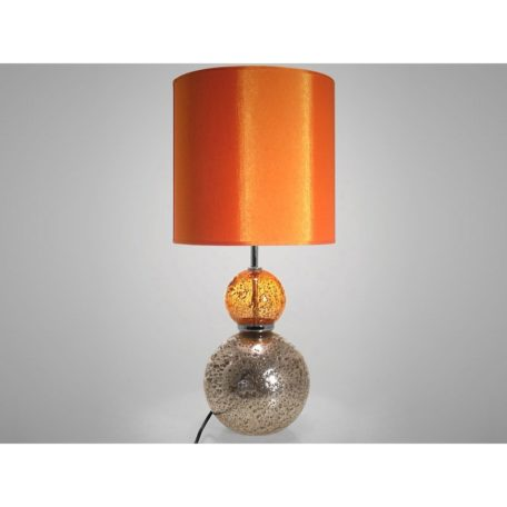 Lampe VOLCANIQUE - 2 boules en verre orange et gris.
