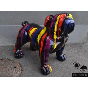Statue deco Chien bouledogue noir motif multicolore pour exterieur- outdoor