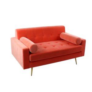 Canapé 2 places en velours orange corail, jaune ou taupe – TREND