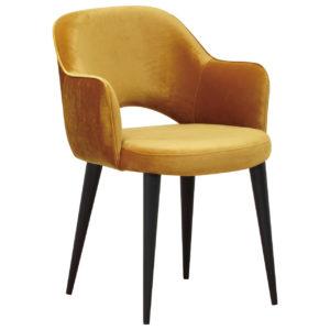 Chaise confortable accoudoirs GIOVANNA tissu velours jaune ocre pieds noirs richmond interiors