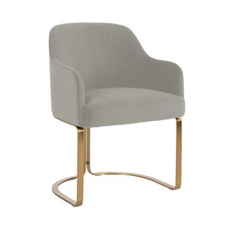 Chaise en tissu velours coloris KHAKI (gris/beige)