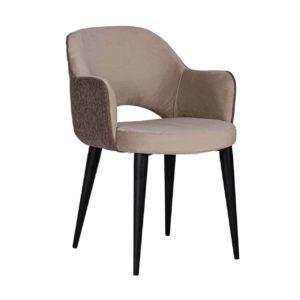 Chaise design avec accoudoirs pieds métal noir assise tissu taupe, gris ou rose– Richmond Interiors – GIOVANNA