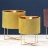 lampe design metal dore abat jour velour
