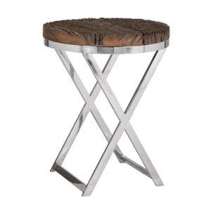 Bout de canapé rond bois brut et métal chromé Richmond Interiors – KENSINGTON