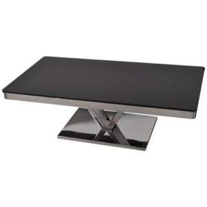 table basse design verre et metal