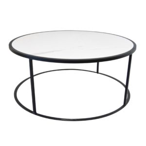 table basse plateau céramique blanche imitation marbre