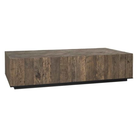 Table basse rectangulaire HERRINGBONE en vieux chene et métal noir