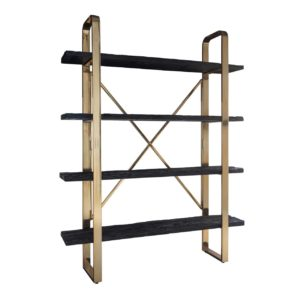 meuble bibliotheque bois noir et metal or