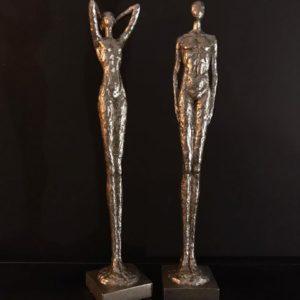 Statue couple argent