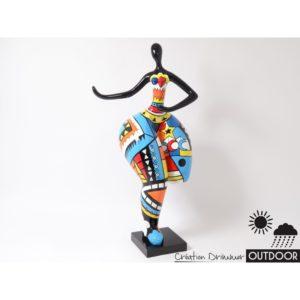 statue deco femme courbes couleurs motifs exterieur interieur
