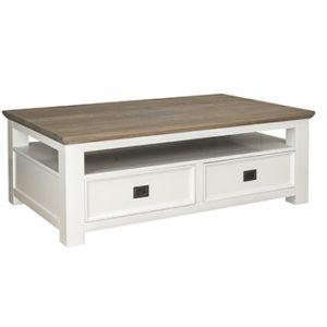 table basse bois blanc tiroirs