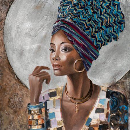 peinture femme beaute avec bandeau tissus