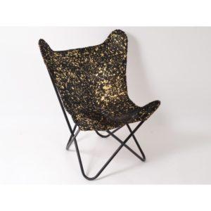 fauteuil noir or