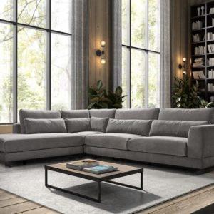 canape angle tissu gris confort luxe remco
