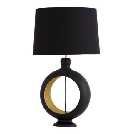 lampe-design-ceramique-noir-jaune-moutarde-luminaire-cantil-flametluce-boisetdeco