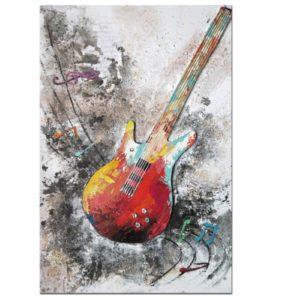 tableau-guitare-basse-peinture-couleurs-deco-murale-musicien