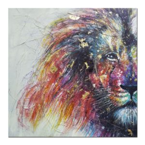 tableau-tete-de-lion-peinture-couleurs-vives-or-decoration-murale-originale