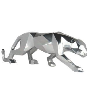 Panthère statue décorative gris argent style origami 100cm – INITIAL