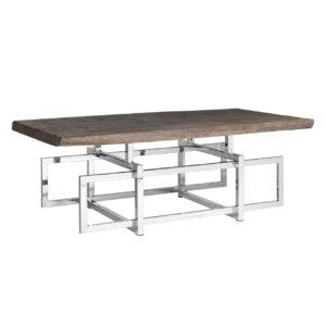 Table basse rectangulaire pied design métal argent plateau bois acacia – TUXEDO