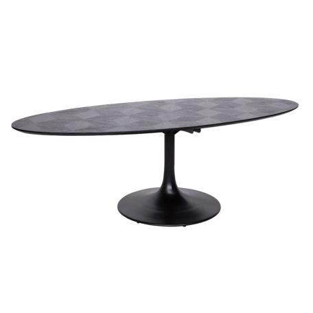 Table ovale BLAX en chene et metal.
