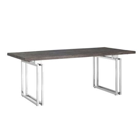 table-2m-plateau-bois-acacia-fonce-pieds-metal-acier-argent-chrome