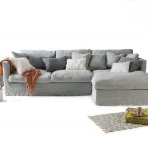 Canape NOMAD en lin gris avec meridienne